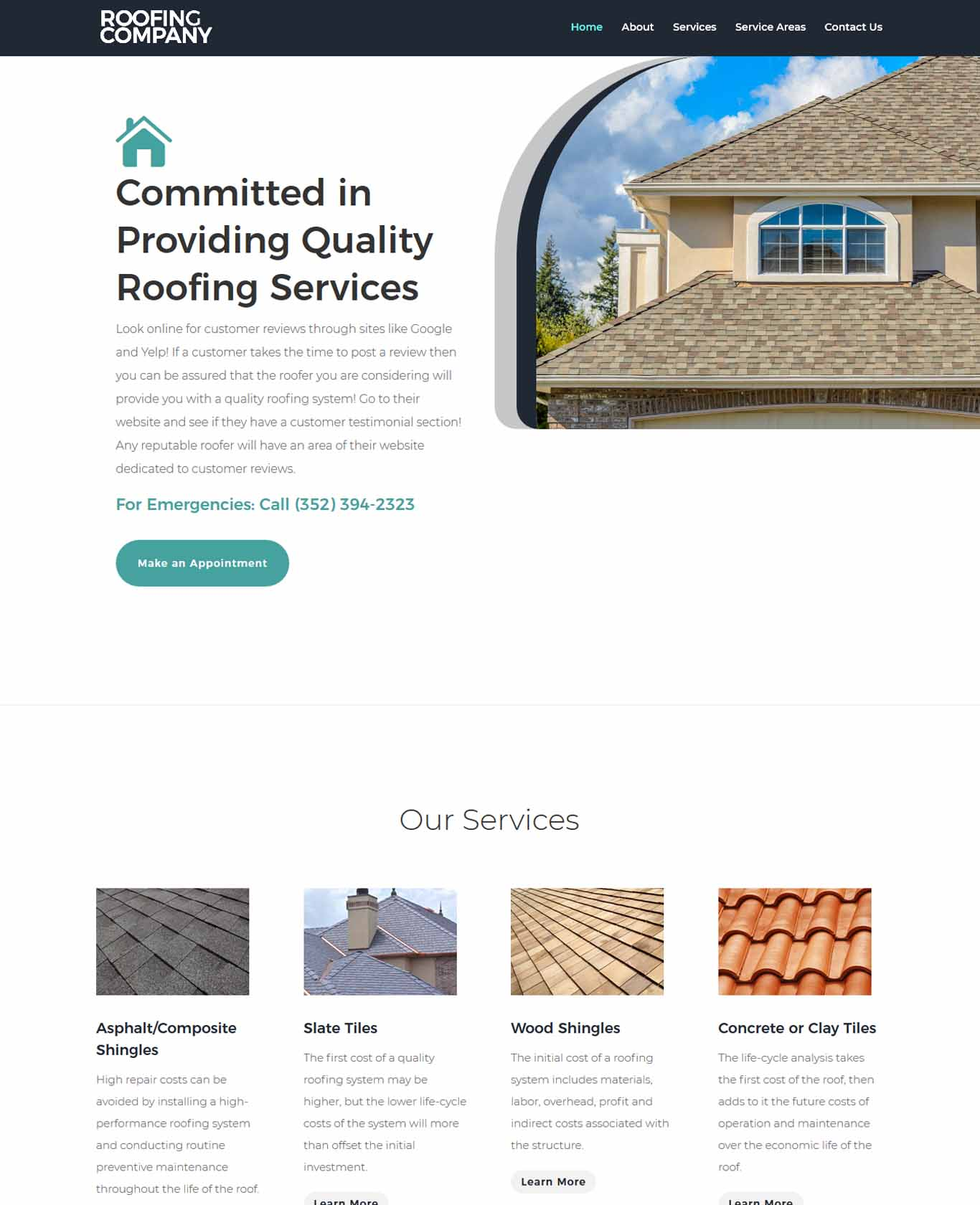 Roofer Website Sample Design 1
